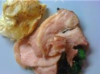 Honey Glazed Gammon with Dauphinoise Potatoes and Wilted Spinach
