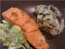 Maple Salmon with Creamed Leeks and Black Pudding Mash